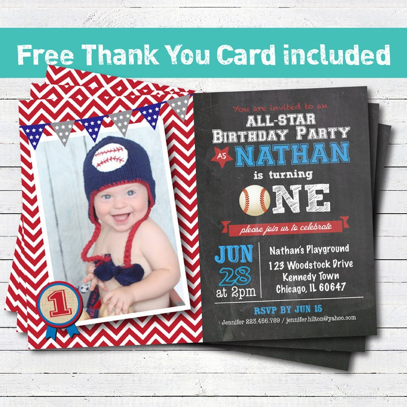Baseball Birthday Invitation Baby Boy First St Birthday - Digital first birthday invitation