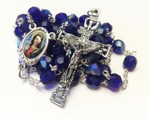 St. Agatha Catholic Handmade Rosary in Dark Blue Czech Glass Beads with a Holy Spirit Crucifix Patron/Breast Cancer Rosary
