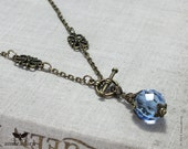 Light Sapphire Blue Necklace, Edwardian Pendant, 1900's Style Jewellery, Antique Bronze Neck Chain, Edwardian Jewellery, Handmade UK