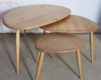Beautifully Hand Finished Ercol Pebble Nest of Tables