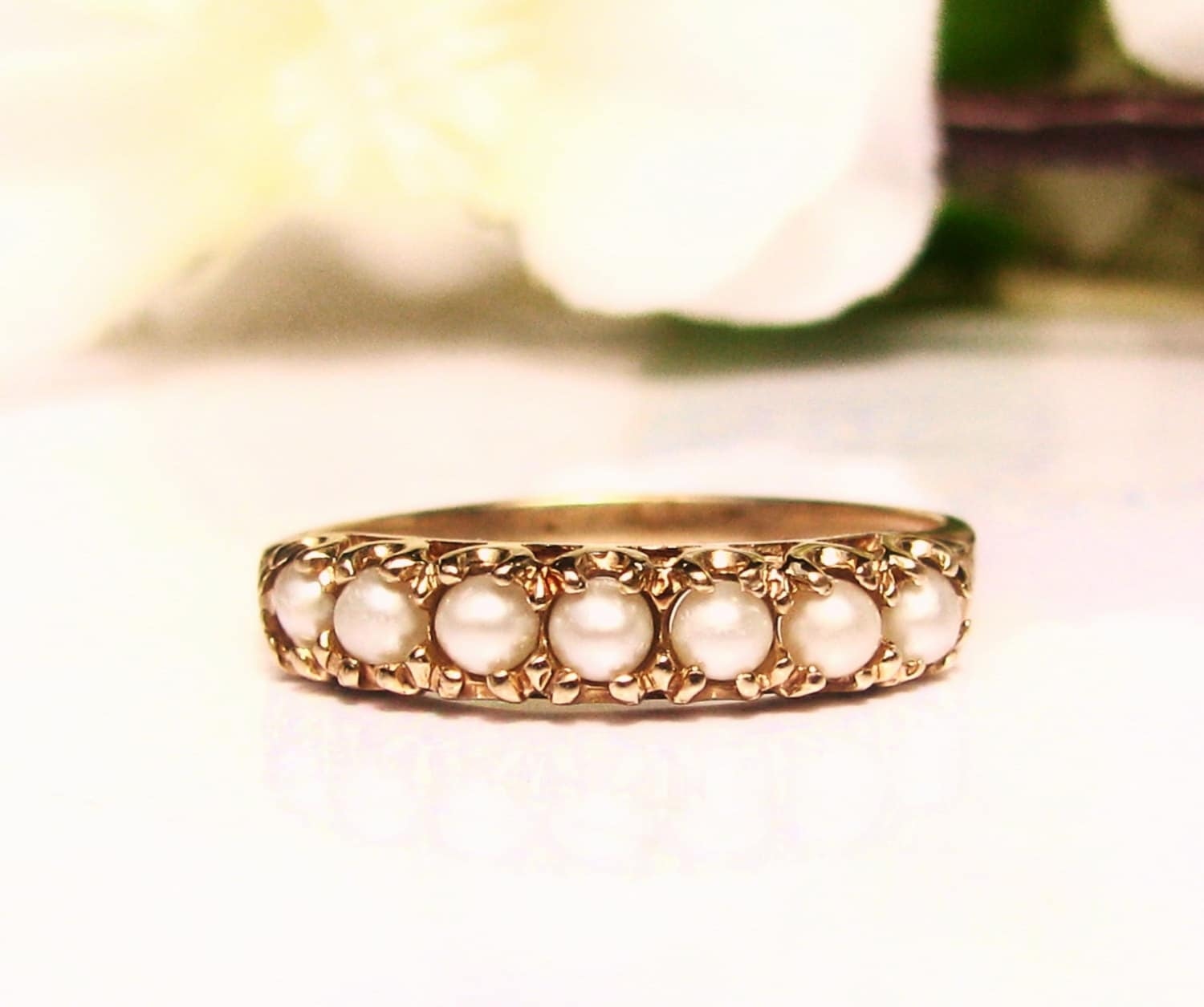 Pearl Wedding Ring: Vintage Pearl Wedding Band Ladies Pearl Wedding Ring 10K