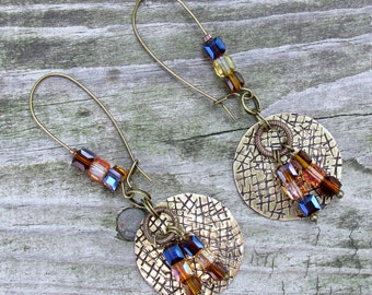 Brass & Crystal Stamped Metal Hashtag Earrings
