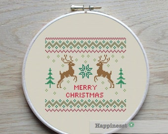 christmas cross stitch pattern, merry christmas, deer, modern cross stitch, nordic folk art, PDF, ** instant download**