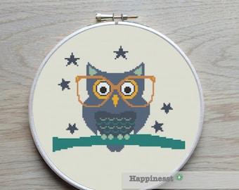 Modern cross stitch pattern wise owl, PDF ** instant download**