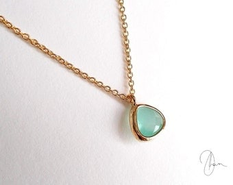 Mint Crystal Necklace - Minimal Gold Necklace - Mint Bridesmaids Jewelry - Maid of Honor Gift - Dainty Simple Jewelry - Plated/Gold-filled
