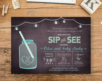 Baby Boy Sip and See Invitation,  Sip & See Baby Boy Shower Invite, Sip and See Party, Blue Boy Baby Shower, Vintage Summer Black Chalk JA