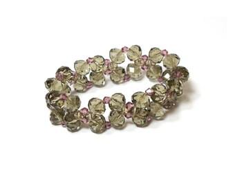 Purple Swarovski Crystal Bracelet/ Purple Crystal Bracelet/ Purple Gemstone Bracelet/ Gemstone beaded bracelet