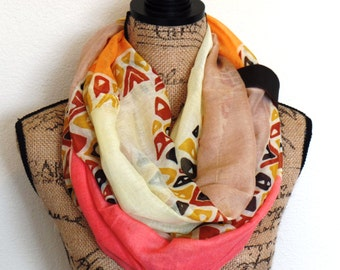 Women's Light Weight Spring Scarves, Womens Summer Infinity Scarves, Color Block Circle Scarves, Womes Bridal Shower Favors, Uptown Girl Co