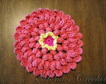 Crochet Zinnia Flower Pattern : crochet flower dishcloth ? Etsy