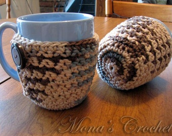 Hand Crocheted 100% Cotton Coffee Mug Coaster | Coffee Mug Cozy | Coffee Cup Cozy | Coffee Mug Cover - Browns, Tan and Blue - Set of 2
