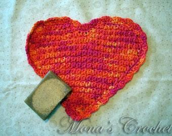 Hand Crocheted Peruvian Cotton Heart Shaped Washcloth | Face Cloth | Spa Cloth | Crochet Washcloth | Crochet Spa Cloth