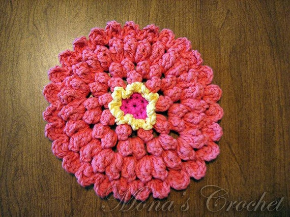 Hand Crocheted 100% Cotton Zinnia Dishcloth Washcloth