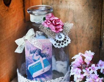Romantic Handmade glass vase, Shabby chic table decoration, Fairy decoration, Wedding vase with flowers, Rustic wedding decor, Shabby vase