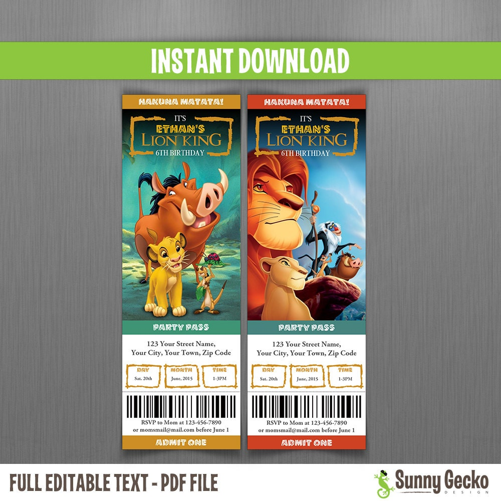 Disney The Lion King Birthday Ticket Invitations Instant