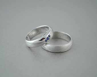 Wedding rings in 18 Kt white gold and natural sapphires,engagement ring,white gold wedding bands,different engagement ring,made to order,