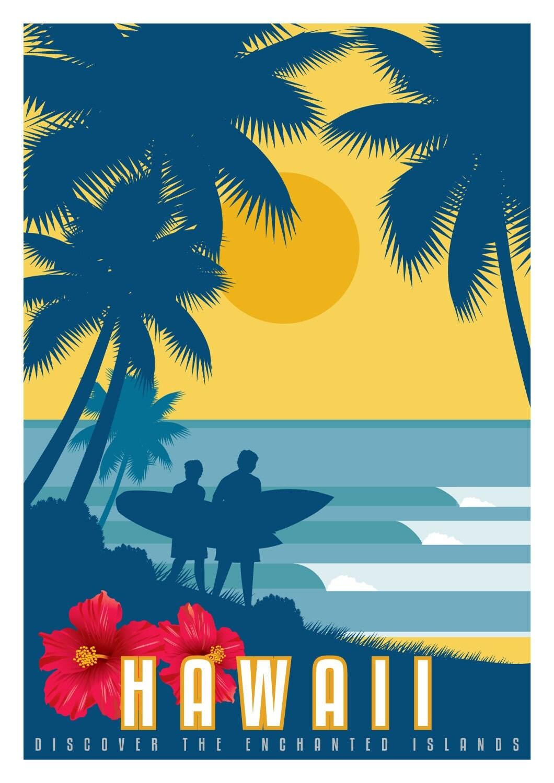 Hawaii vintage poster affiche de voyage vintage art d co for Affiche deco