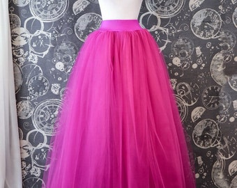 Fuchsia Tulle Skirt - Hot Pink Full length Tutu Lycra waist band - Long Adult Skirt or Petticoat - Custom Size
