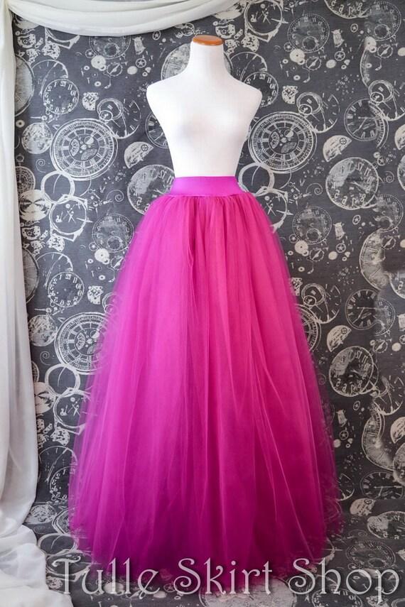 Fuchsia Tulle Skirt Hot Pink Full Length Tutu Lycra Waist