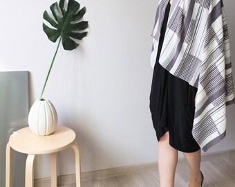 geometric charcoal grey silk scarf
