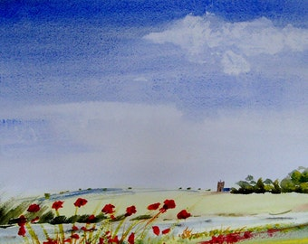 RIVER SEVERN 2, Shropshire. Original Watercolour Landscape Painting.