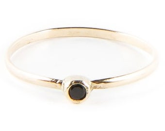 Black Spinel Gold Ring