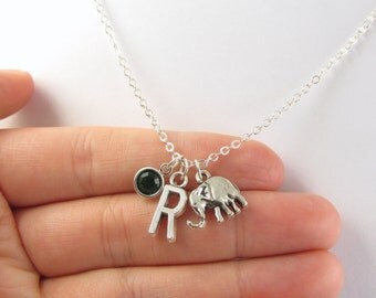Elephant Necklace- choose a birthstone and initial, Elephant Jewelry, Elephant Gift, Personalized Elephant, Elephant Charm, Birthstone