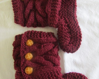 Burgundy Knitted Cozy Slippers - Slipper Socks - Burgundy Slippers - Women's Slippers - Ready To Ship in size 9-10 or MADE TO ORDER