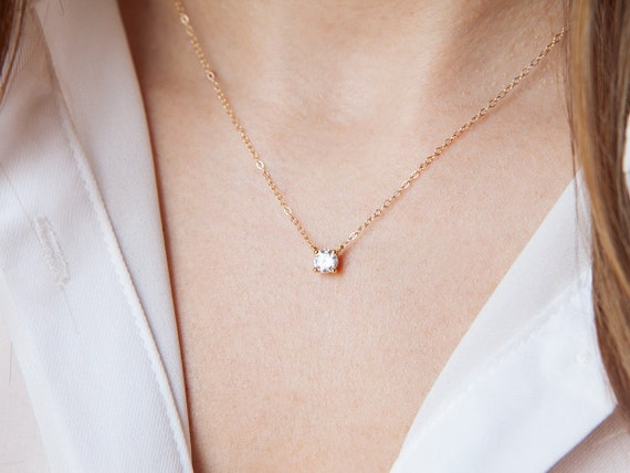 items similar to floating diamond necklace cz necklace. Black Bedroom Furniture Sets. Home Design Ideas