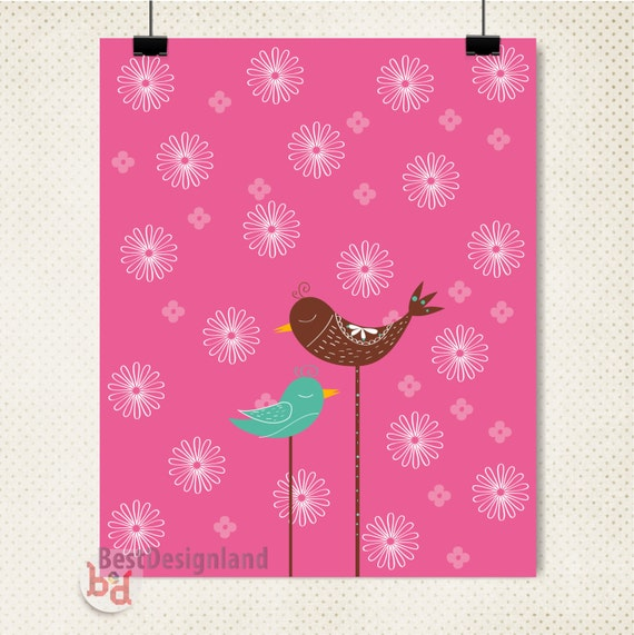 Magenta Home Decoration: Items Similar To Birds And Flower Art Wall Magenta