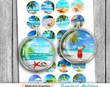 """Tropical Holiday 1"""" 25mm 30mm 1.5"""" Printable Circle Bottle cap images Cabochon Digital Collage Sheet - Instant Download"""