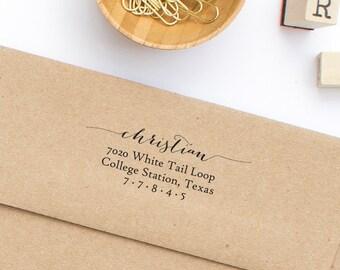 Return Address Stamp, Self-Inking Address Stamp, Custom Address Stamp, Wedding Stamp, Calligraphy Address Stamp,  Stamp Style No. 86