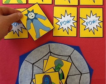 Superhero Preschool Memory Learning Game and Craft Activity