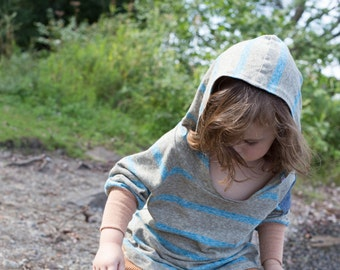 Green and blue strippes hoodie, hemp, organic cotton, kids clothes, hemp clothes, organic clothing
