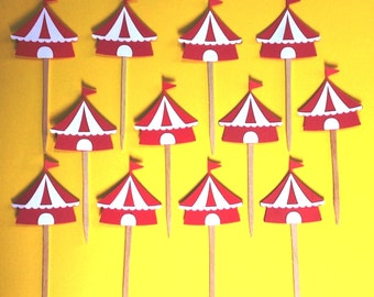 Circus Tent Cupcake Toppers Carnival Party Supplies