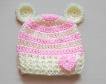 Baby girl bear hat, crochet baby hat, bear baby hat, newborn girl hat, newborn bear hat, crochet newborn hat, teddy bear hat, baby girl hat