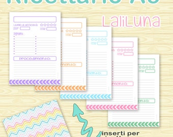 A5 filofax, organiser and cookbook Arc System printable recipes, different colors, useful info, color coding