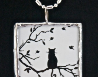 Black Cats - Microscope Slide Necklace - Double Sided