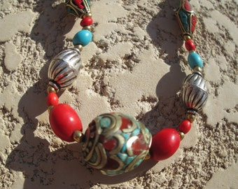 Handcrafted Genuine Turquoise & Red Coral Tibetan Silver Unique Necklace 18 Inches Long, Weight 29.7 Grams