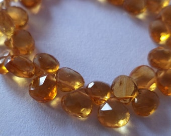 Genuine Citrine hearts briolettes  5 mm  AAA Quality