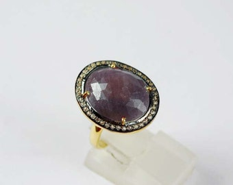 Gorgeous Wonder Sapphire Ring with Sparkling White Topaz SF-1484