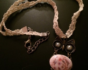Lace Necklace with Owl Pendant