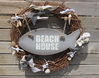 """18"""" Beach Wreath Beach House Wreath Fish Wreath Grapevine Wreath Summer Wreath Rustic Beach Wreath Gray White Wreath Seashell Wreath"""