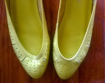 Bright Yellow Pumps with Micro Heel- Great for Summer! 7.5