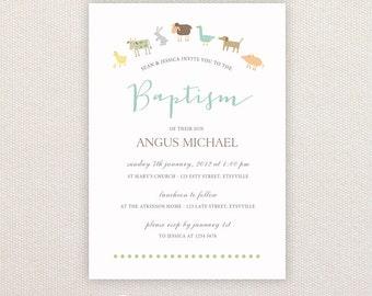 Christening/baptism Invitations. Farm animals. I Customize, You Print.