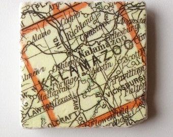 Vintage Kalamazoo Map Coaster