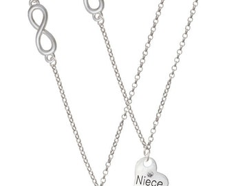 Aunt & Niece - Delicate Infinity Necklace - Set of 2 NC-LgAunt-SmNiece-F2106-2