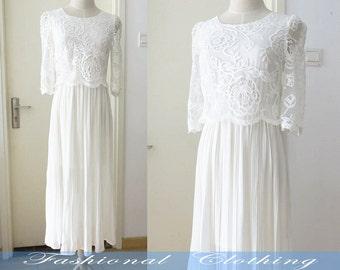 white lace chiffon long dress summer dress women clothing women dress half sleeve dress girl dress