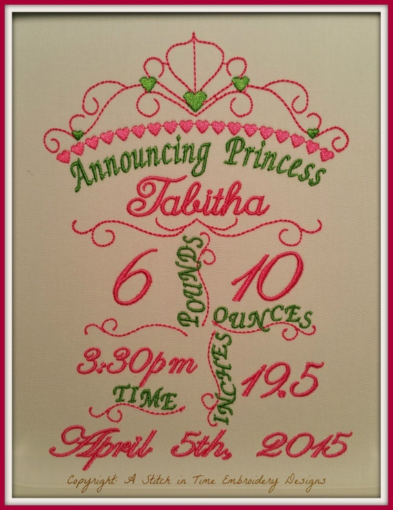 5x7 Princess Birth Announcement Template - Machine ...