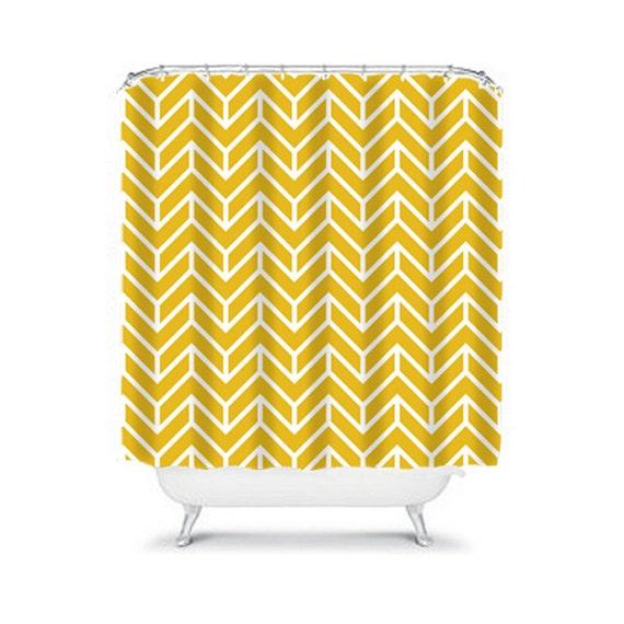 Chevron Shower Curtain Yellow Custom Monogram By Trmdesignshop