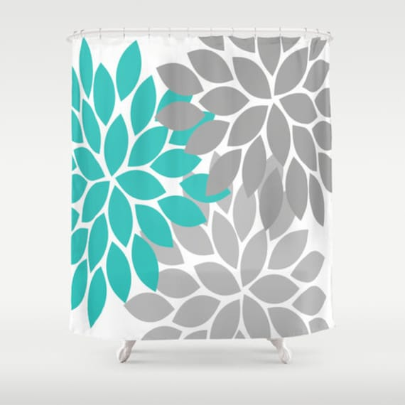 Chevron Coral Navy Aqua SHOWER CURTAIN Custom By HoneyDesignStudio